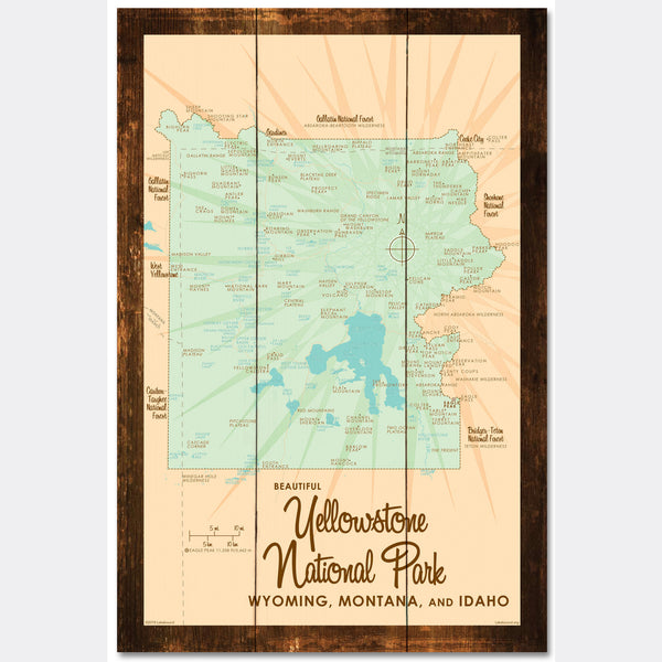 Yellowstone National Park WY MT Idaho, Rustic Wood Sign Map Art