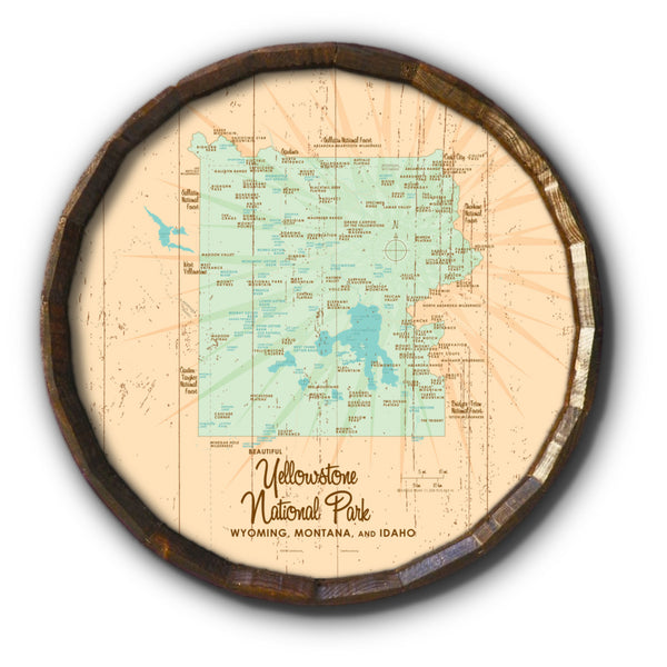Yellowstone National Park WY MT Idaho, Rustic Barrel End Map Art