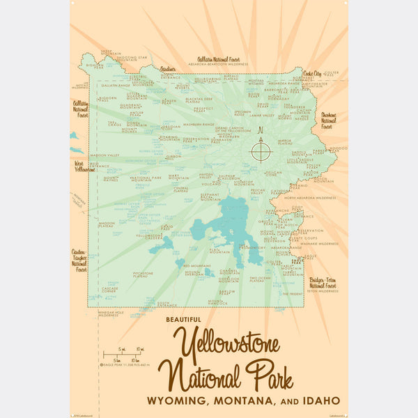Yellowstone National Park WY MT Idaho, Metal Sign Map Art