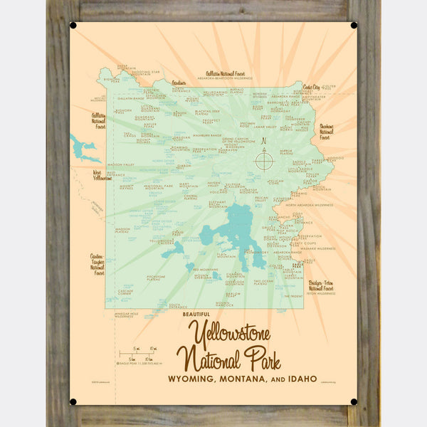 Yellowstone National Park WY MT ID, Wood-Mounted Metal Sign Map Art