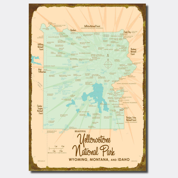 Yellowstone National Park WY MT Idaho, Sign Map Art