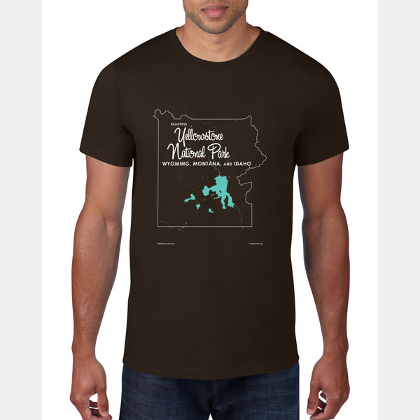 Yellowstone National Park WY MT Idaho, T-Shirt Map Art