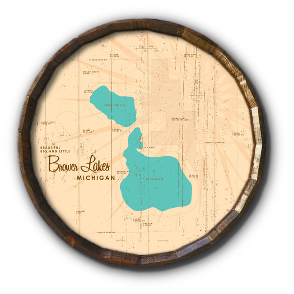 Big and Little Brower Lakes Michigan, Rustic Barrel End Map Art