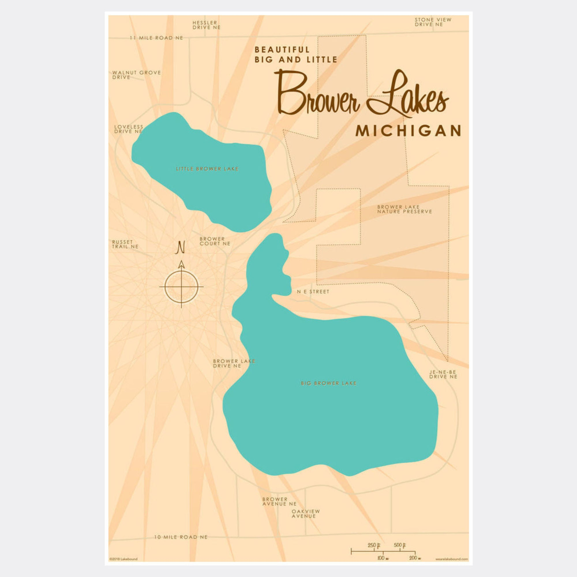 Big and Little Brower Lakes Michigan, Paper Print
