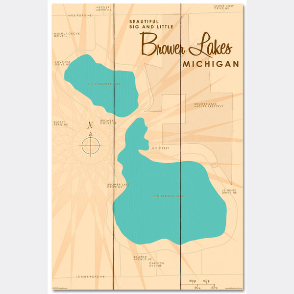 Big and Little Brower Lakes Michigan, Wood Sign Map Art