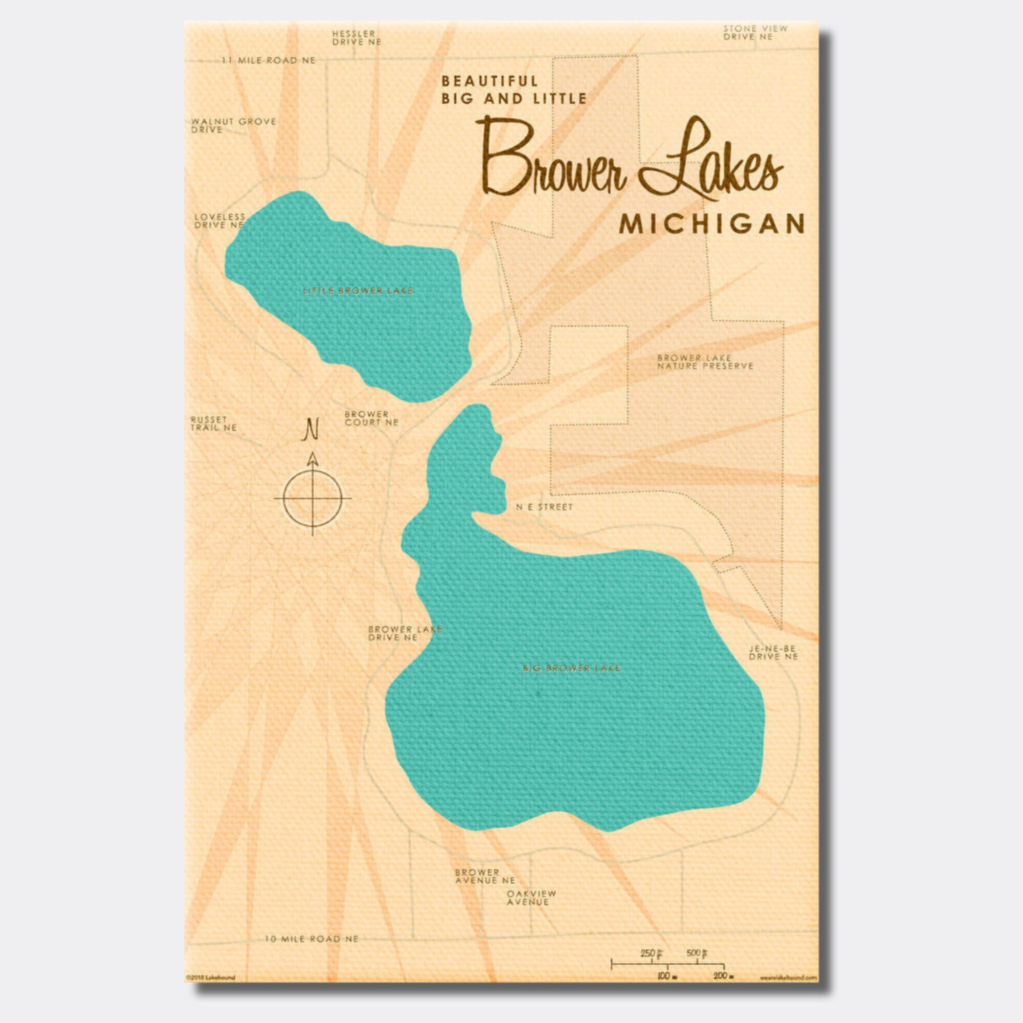 Big and Little Brower Lakes Michigan, Canvas Print