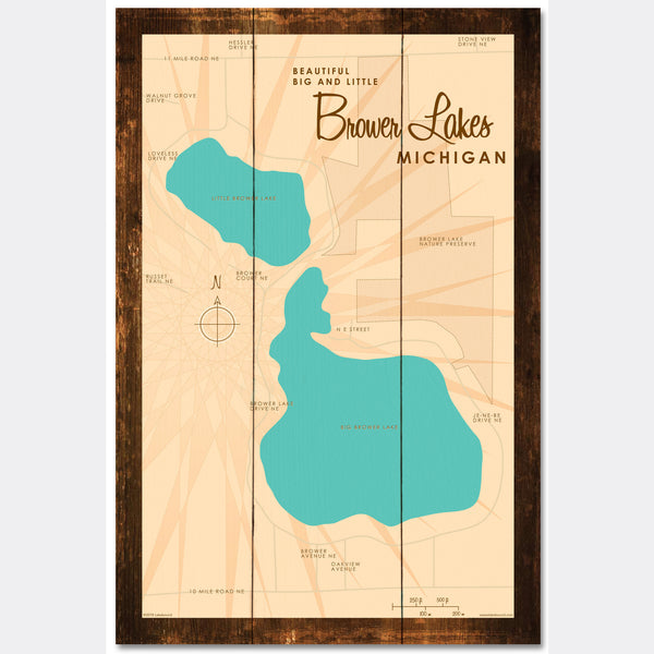 Big and Little Brower Lakes Michigan, Rustic Wood Sign Map Art