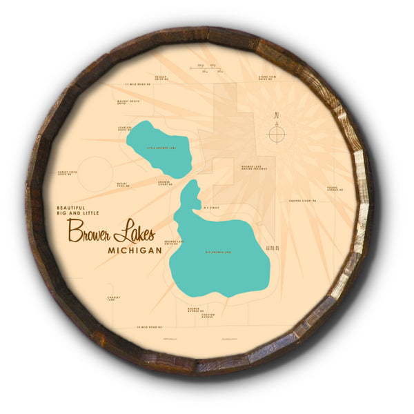 Big and Little Brower Lakes Michigan, Barrel End Map Art