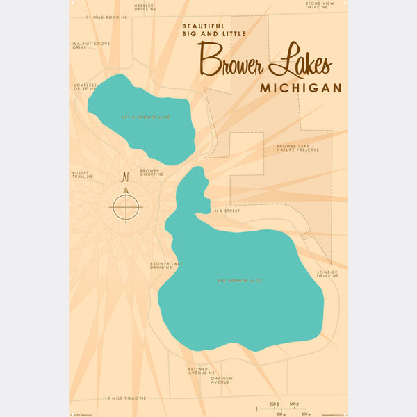 Big and Little Brower Lakes Michigan, Metal Sign Map Art