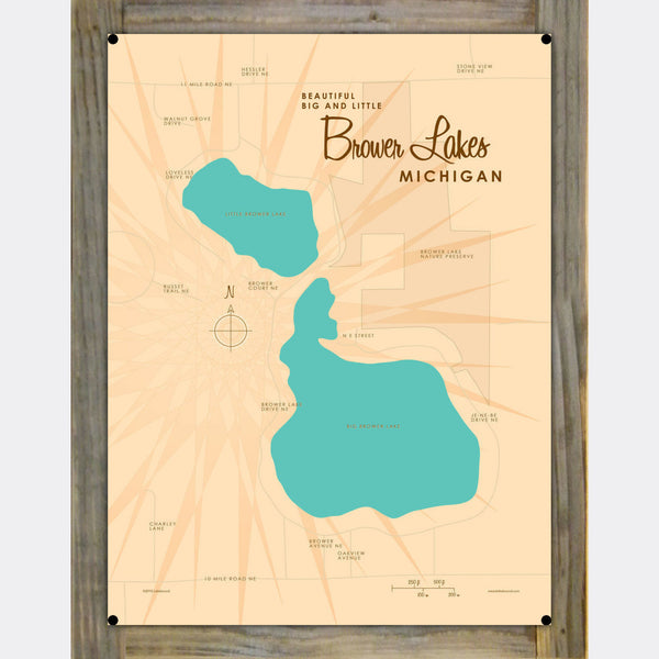 Big and Little Brower Lakes Michigan, Wood-Mounted Metal Sign Map Art