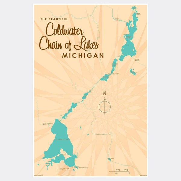 Coldwater Chain of Lakes Michigan, Paper Print