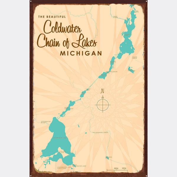 Coldwater Chain of Lakes Michigan, Rustic Metal Sign Map Art