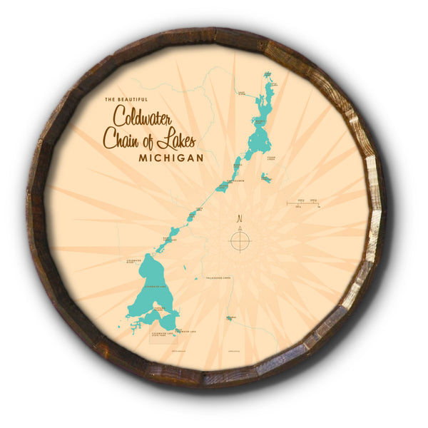 Coldwater Chain of Lakes Michigan, Barrel End Map Art