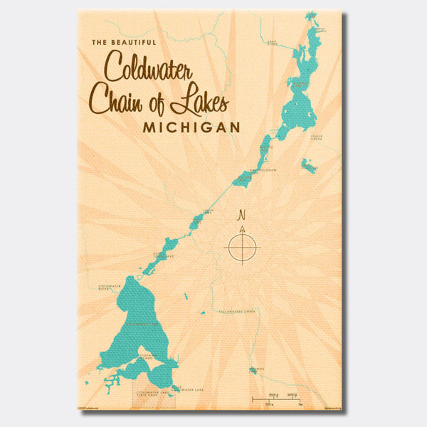 Coldwater Chain of Lakes Michigan, Canvas Print