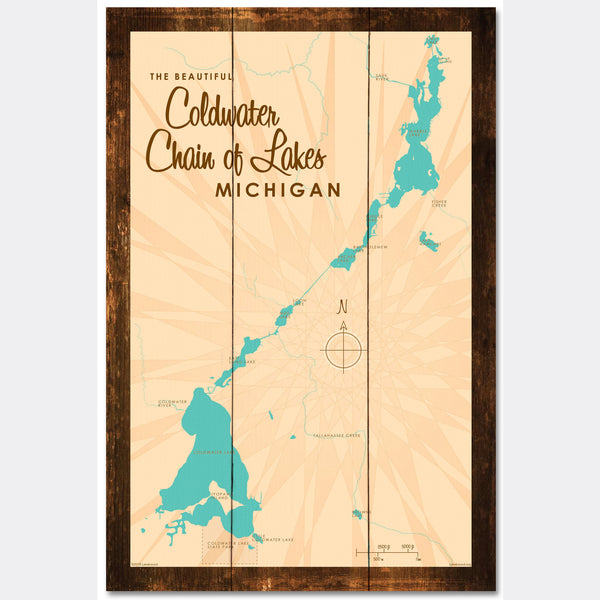 Coldwater Chain of Lakes Michigan, Rustic Wood Sign Map Art