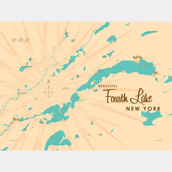 Fourth Lake NY (Herkimer County), Metal Sign Map Art