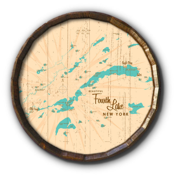 Fourth Lake NY (Herkimer County), Rustic Barrel End Map Art