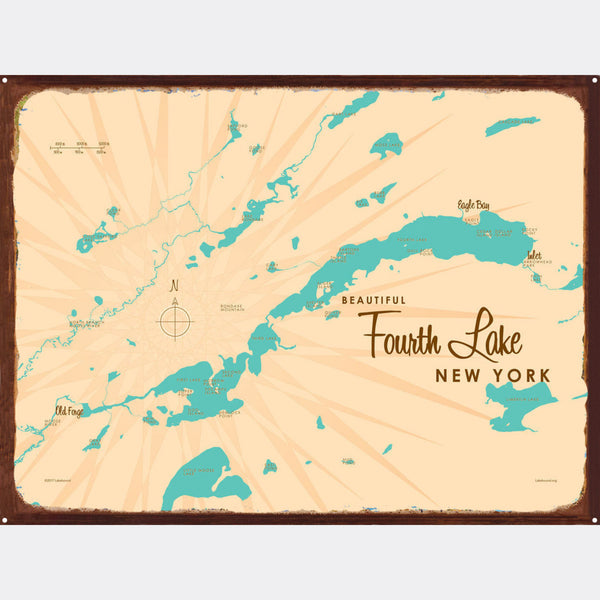 Fourth Lake NY (Herkimer County), Rustic Metal Sign Map Art