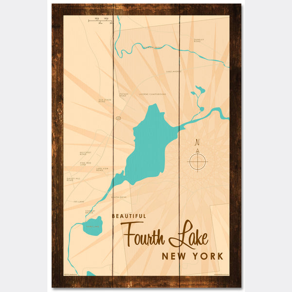 Fourth Lake NY (Warren County), Rustic Wood Sign Map Art