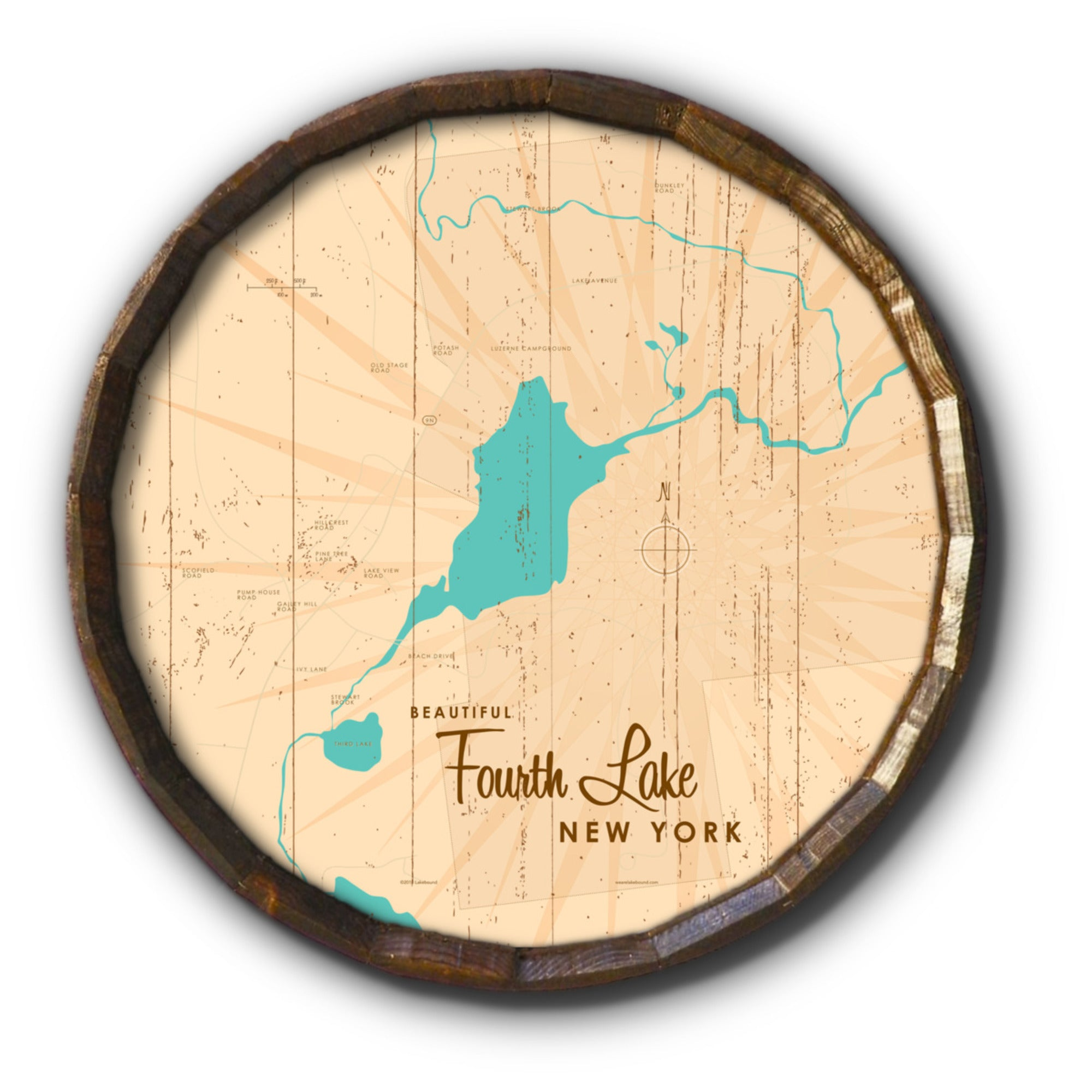 Fourth Lake NY (Warren County), Rustic Barrel End Map Art