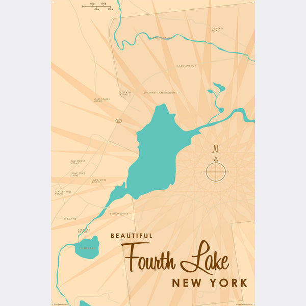 Fourth Lake NY (Warren County), Metal Sign Map Art