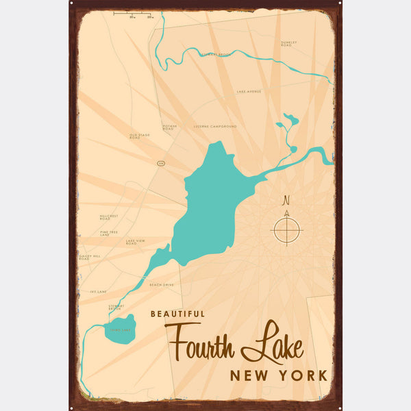Fourth Lake NY (Warren County), Rustic Metal Sign Map Art