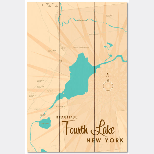 Fourth Lake NY (Warren County), Wood Sign Map Art