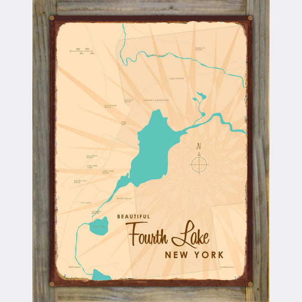 Fourth Lake NY (Warren County), Wood-Mounted Rustic Metal Sign Map Art
