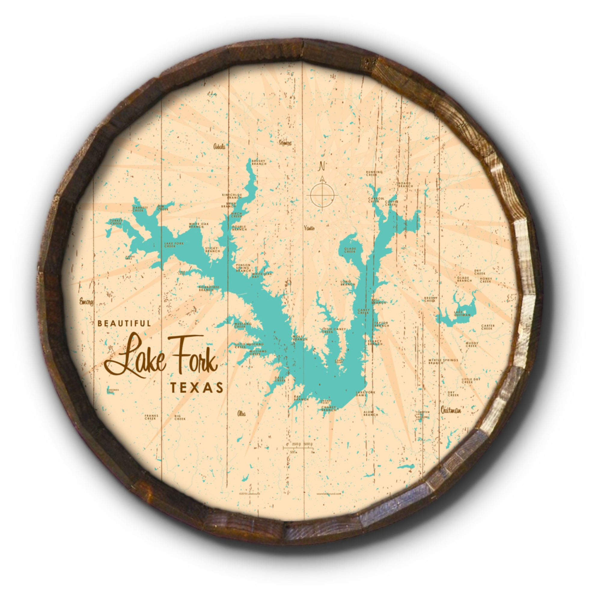 Lake Fork Texas, Rustic Barrel End Map Art