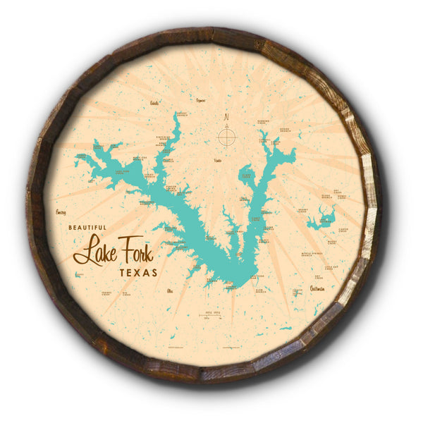 Lake Fork Texas, Barrel End Map Art