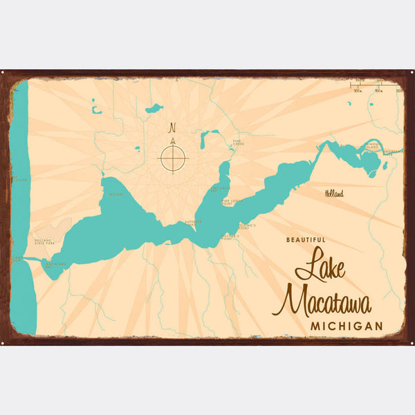 Lake Macatawa Michigan, Rustic Metal Sign Map Art