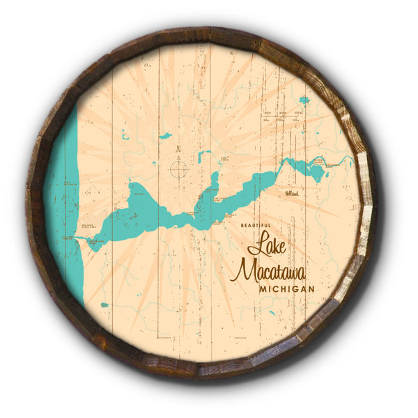 Lake Macatawa Michigan, Rustic Barrel End Map Art
