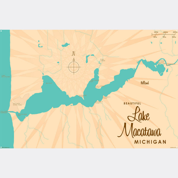 Lake Macatawa Michigan, Metal Sign Map Art