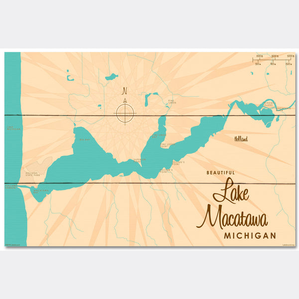Lake Macatawa Michigan, Wood Sign Map Art