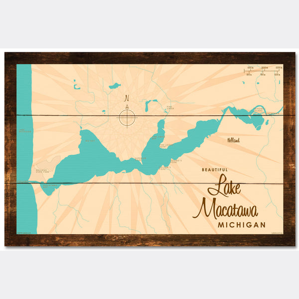 Lake Macatawa Michigan, Rustic Wood Sign Map Art