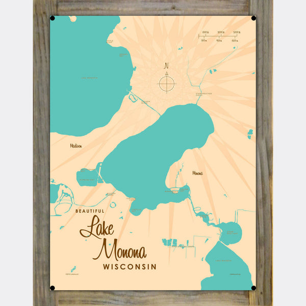Lake Monona Wisconsin, Wood-Mounted Metal Sign Map Art