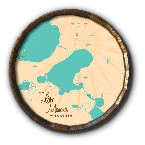 Lake Monona Wisconsin, Barrel End Map Art