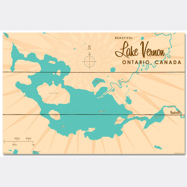 Lake Vernon Ontario, Wood Sign Map Art