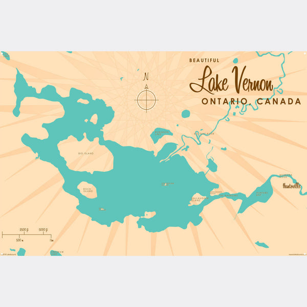Lake Vernon Ontario, Metal Sign Map Art