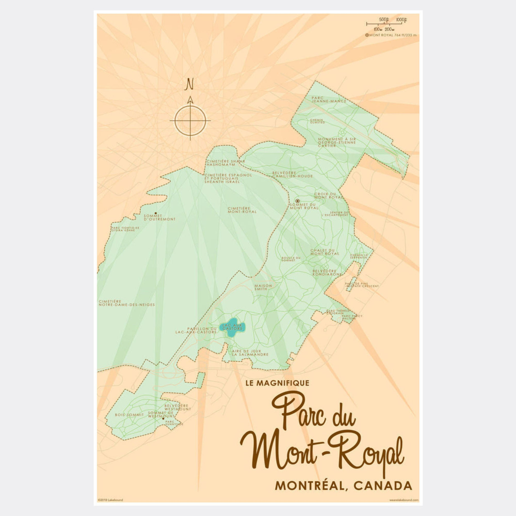 image about Printable Map of Montreal known as Parc du Mont-Royal Montreal Canada, Paper Print