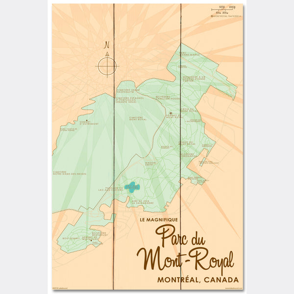 Parc du Mont-Royal Montreal Canada, Wood Sign Map Art