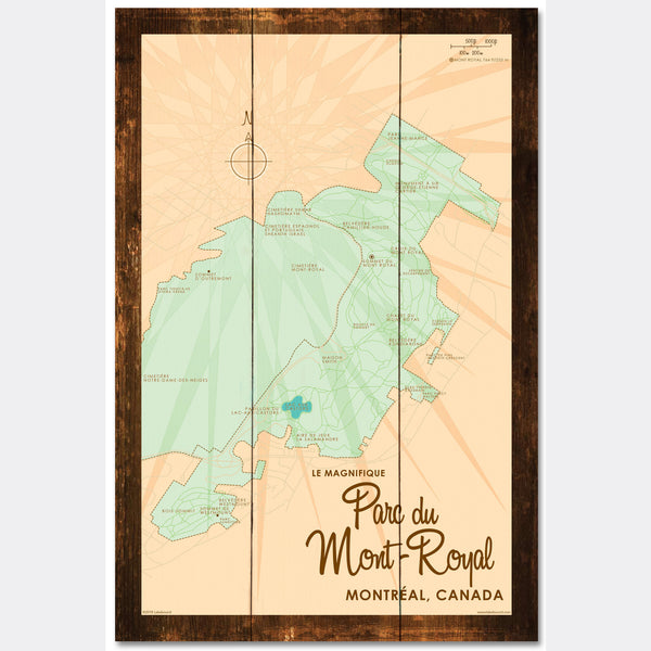 Parc du Mont-Royal Montreal Canada, Rustic Wood Sign Map Art