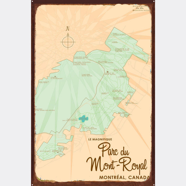 Parc du Mont-Royal Montreal Canada, Rustic Metal Sign Map Art