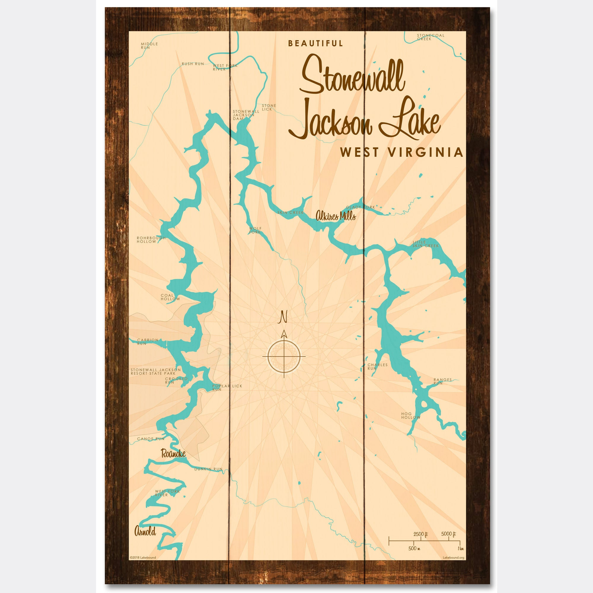 stonewall jackson lake map Stonewall Jackson Lake West Virginia Rustic Wood Sign Map Art stonewall jackson lake map