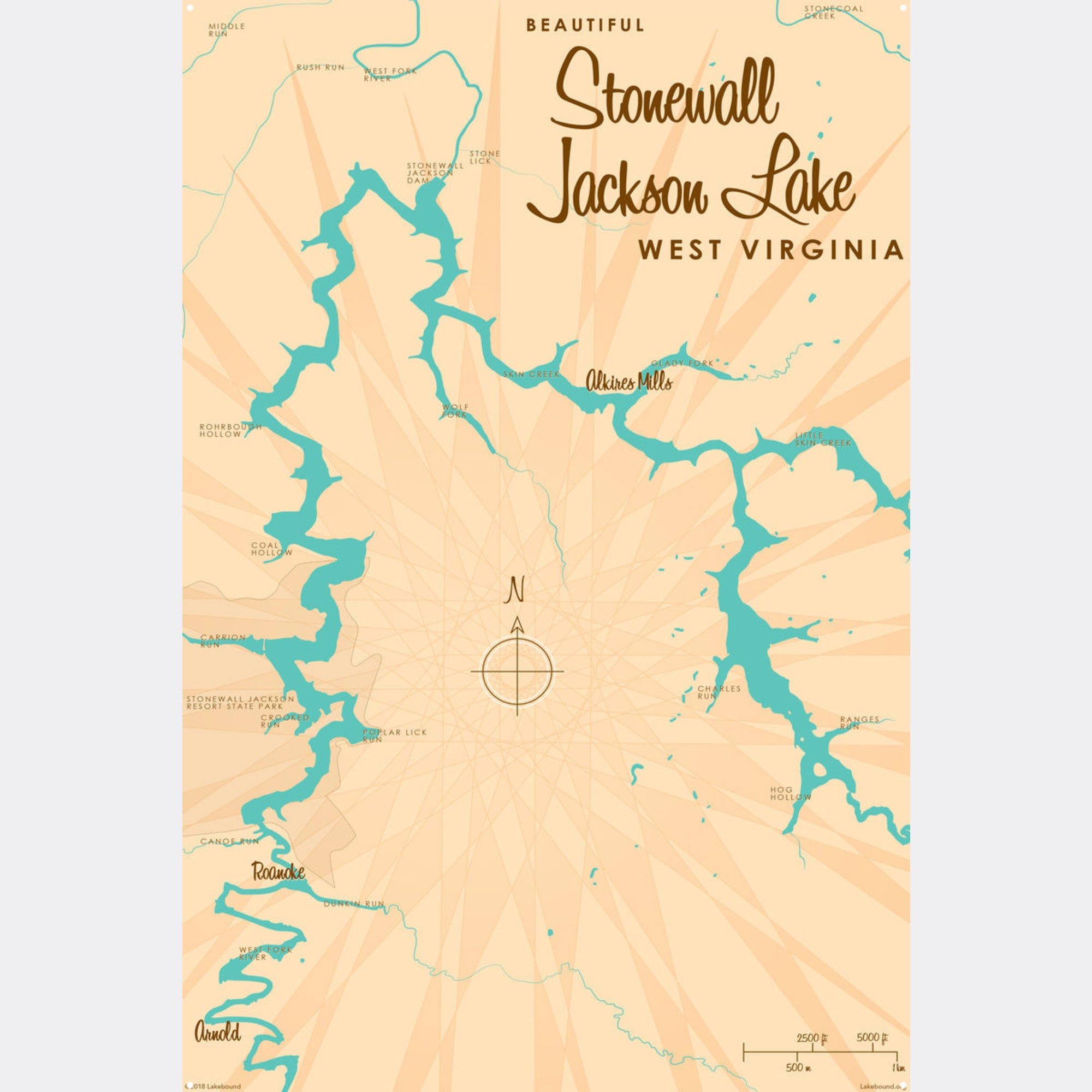 stonewall jackson lake map Stonewall Jackson Lake West Virginia Metal Sign Map Art Lakebound stonewall jackson lake map