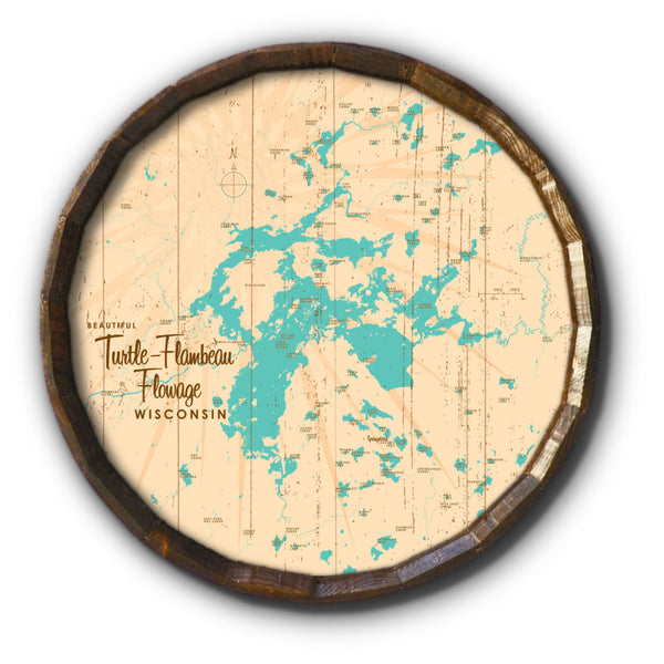 Turtle-Flambeau Flowage Wisconsin, Rustic Barrel End Map Art