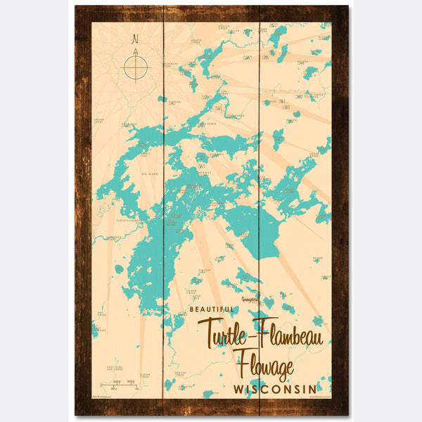 Turtle-Flambeau Flowage Wisconsin, Rustic Wood Sign Map Art