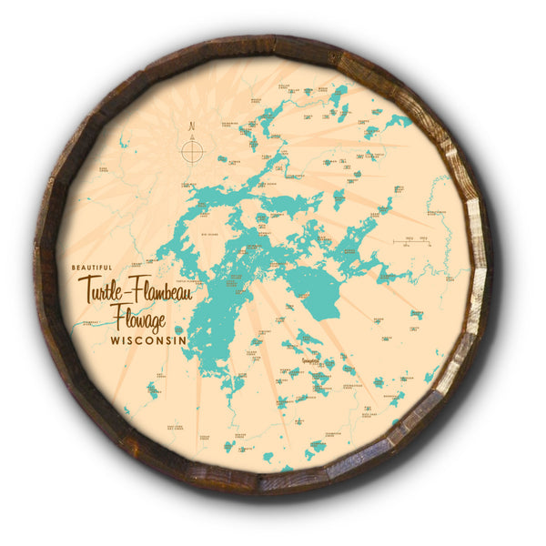 Turtle-Flambeau Flowage Wisconsin, Barrel End Map Art