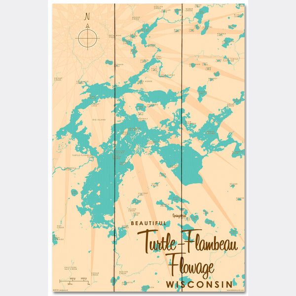Turtle-Flambeau Flowage Wisconsin, Wood Sign Map Art