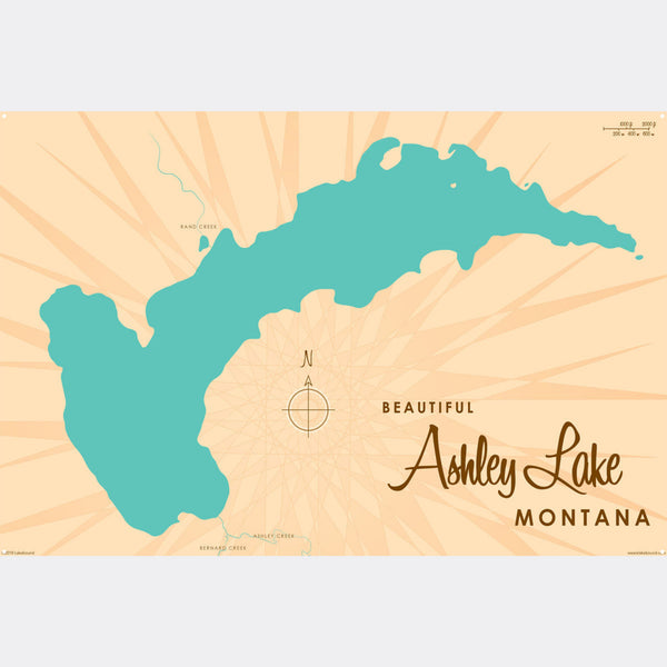 Ashley Lake Montana, Metal Sign Map Art